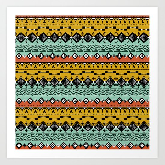 Colorful Aztec pattern. Art Print