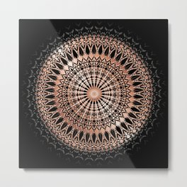 Rose Gold Black Mandala Metal Print