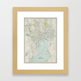 Vintage Map of New Haven Connecticut (1901) Framed Art Print