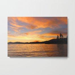 Orange sunset off the Lake Metal Print