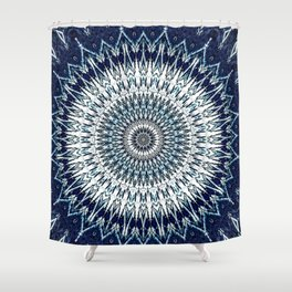Indigo Navy White Mandala Design Shower Curtain