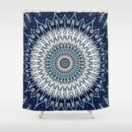 Indigo Navy White Mandala Design Shower Curtain