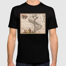 1658 Visscher Map of North & South America with enhancements Mens Fitted Tee Black MEDIUM