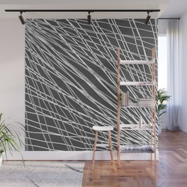 Rays of snow light with intersecting light waves on gray. Wall Mural