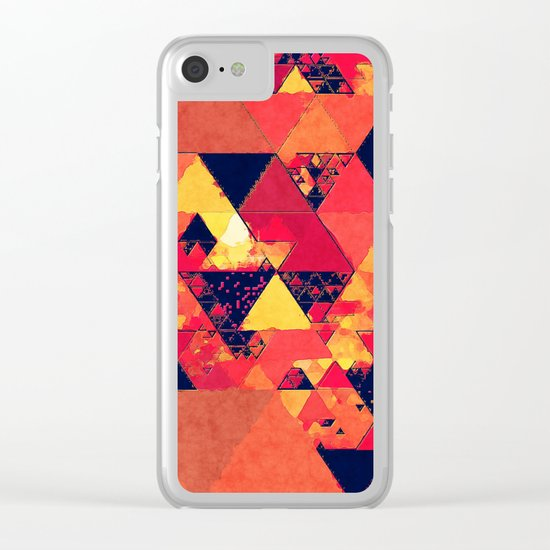 Pure fire- Red yellow black abstract Triangle pattern- Watercolor Illustration Clear iPhone Case