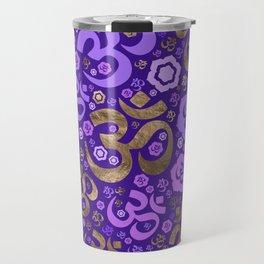 OM symbol pattern - purples and gold Travel Mug