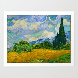 Wheat Field with Cypresses Vincent van Gogh Oil on canvas 1889 Art Print