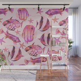 Soft pink underwater fisch scenery Wall Mural