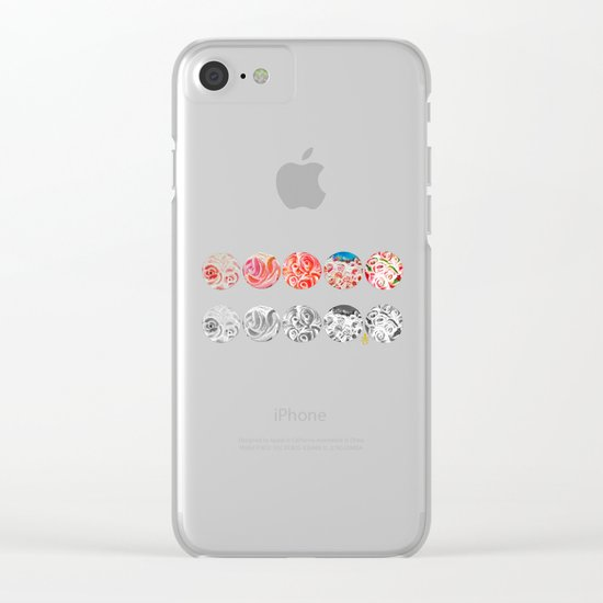 Roses Are Cream, Five Marbles and Circles of Shadow Reflection Clear iPhone Case