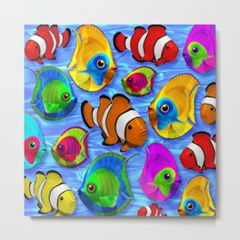 Tropical Fishes Pattern Metal Print