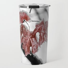 Scarlet Red Leaves in Winter Travel Mug