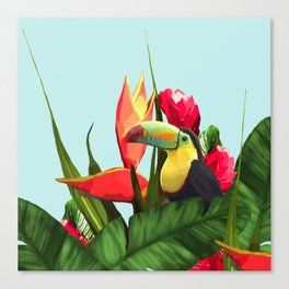 Toucan Tropical Banana Leaves Bouquet Canvas Print