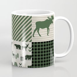 Camping hunter green plaid quilt cheater quilt baby nursery cute pattern bear moose cabin life Coffee Mug