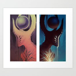 a god who carries the planet that bore them Art Print