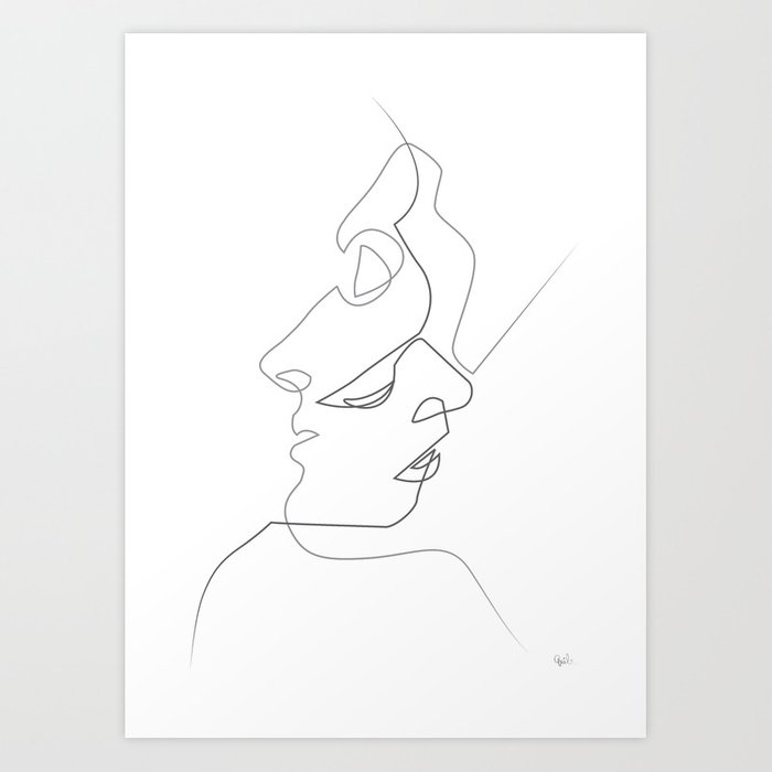 Line Art Poster Design : Close on white art print by quibe society