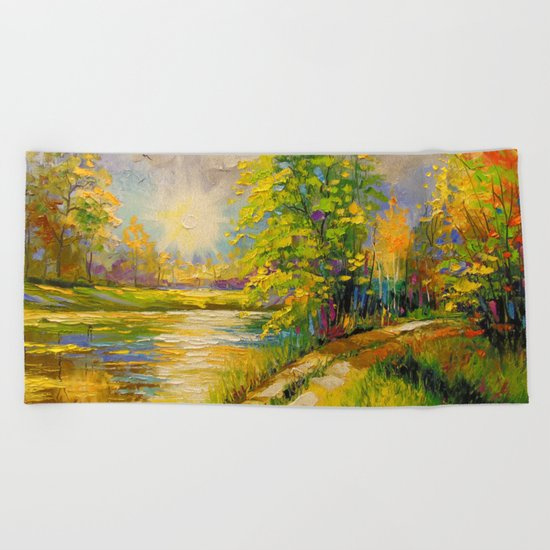 At sunset by the river Beach Towel