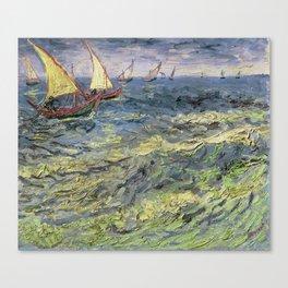 Fishing Boats at Saintes-Maries by Vincent van Gogh Canvas Print