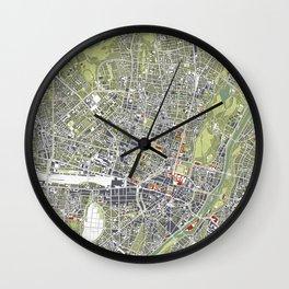 Munich city map engraving Wall Clock