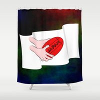 rugby Shower Curtains featuring Japan Rugby Flag by mailboxdisco