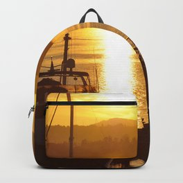Sunset And The Boats Backpack