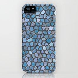 Blue Mosaic Pattern - Dark iPhone Case