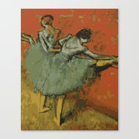 degas Canvas Prints featuring Dancers at the Bar - Degas (Vector Series) by brighter