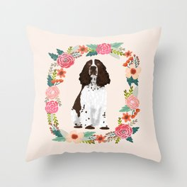 english springer spaniel dog floral wreath dog gifts pet portraits Throw Pillow