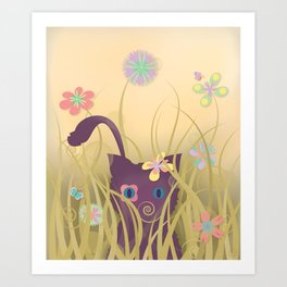 Wild Kitty Cat, Spring Blooming Flowers, Golden Beige Sky Art Print