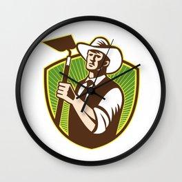 Organic Farmer Holding Grab Hoe Shield Wall Clock