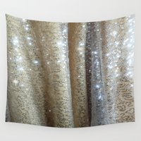 champagne Wall Tapestries featuring Champagne Glitters by Erica Theriault