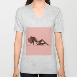 Reclining Rose Unisex V-Neck