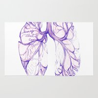 lungs Area & Throw Rugs featuring Lungs that can take that much air! By Sarah Clement by 1THINGapp
