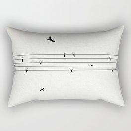 Music Score with Birds Rectangular Pillow