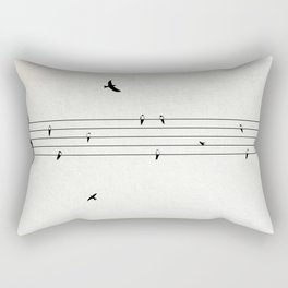 Music Score with Birds Rectangular Pillow
