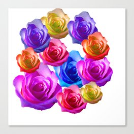 spring time rainbow roses Canvas Print