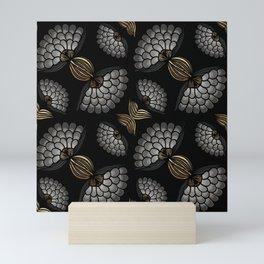 African Floral Motif on Black Mini Art Print
