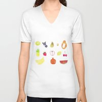 fruits V-neck T-shirts featuring fruits by Ewa Pacia