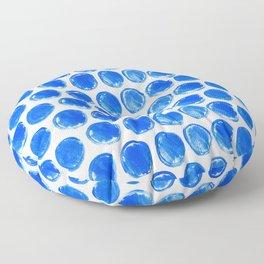 Blue acrylic circles pattern Floor Pillow