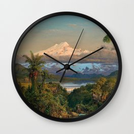 Volcán Cayambe, Ecuador Landscape Painting by Frederic Edwin Church Wall Clock