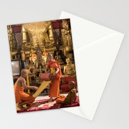 Monks at Work in the Temple - Luang Prabang, Laos Stationery Cards