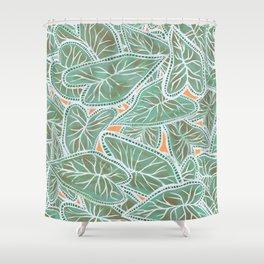 Tropical Caladium Leaves Pattern - Green Shower Curtain