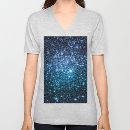 Galaxy Sparkle Stars Periwinkle Blue Turquoise Ombre Unisex V-Neck