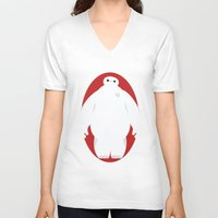baymax V-neck T-shirts featuring Baymax by Polvo