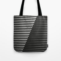 Tote Bags featuring Black vs. White by Metron