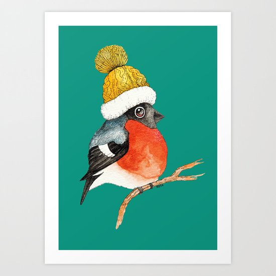 Christmas Bird Bullfinch Art Print