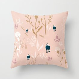 Magic Garden - Pink and Gold Throw Pillow