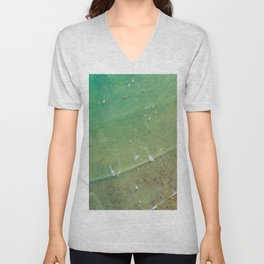 Drone Shot of Surfers from above Unisex V-Neck
