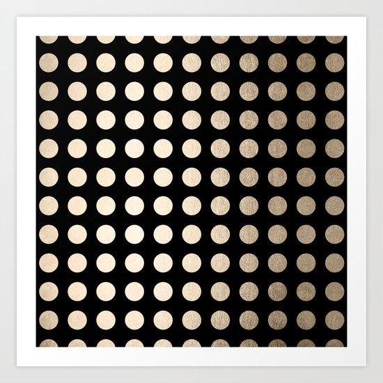 White Gold Sands Polka Dots on Midnight Black Art Print
