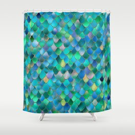 Summer Ocean Metal Mermaid Scales Shower Curtain