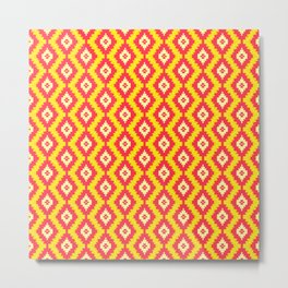 Navajo Native American Indian Burnt Orange Mustard Yellow and Red Clay Geometric Ethnic Southwestern Metal Print